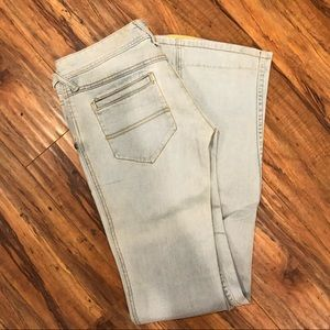 Free People jeans with neon stitching!